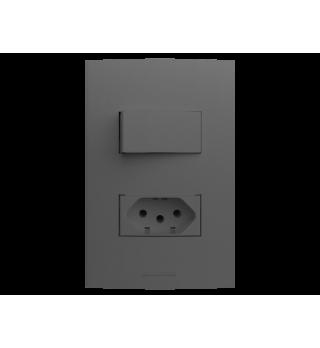 Conj 1 tecla simples + tomada 10A 2x4 - Alumbra Linha Inova Pro Class - Grafite